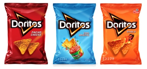 Doritos US, UK and Mexio packs