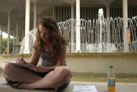 A student, studying