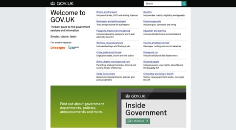 The Gov.uk homepage