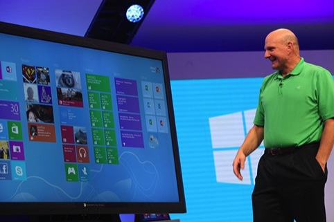 Microsoft chief executive Steve Ballmer and the new Microsoft 8 operating system