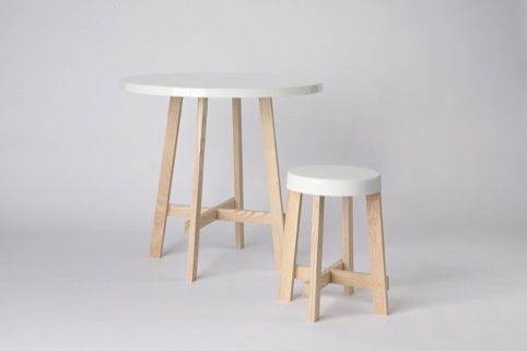 Hugh Leader-Williams, 'Spun dining table and stool', 2012, ash and powdercoated steel, New Designers 2013, One Year On