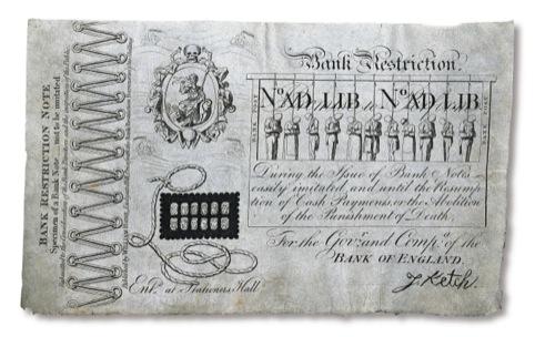 Bank Restriction Note by George Cruikshank 1819