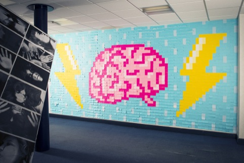 Brainstorm wall, made of post-it notes