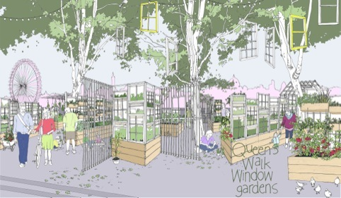 How the Queens Walk Window Garden allotments might look