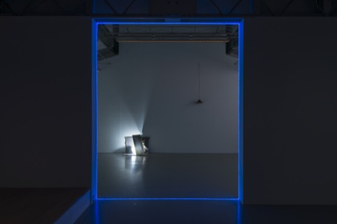 Haroon Mirza, Falling Rope, 2013. Installation view in SCAI THE BATHHOUSE.
