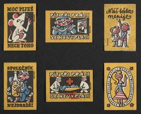 Health warnings on 1960s Czech matchboxes