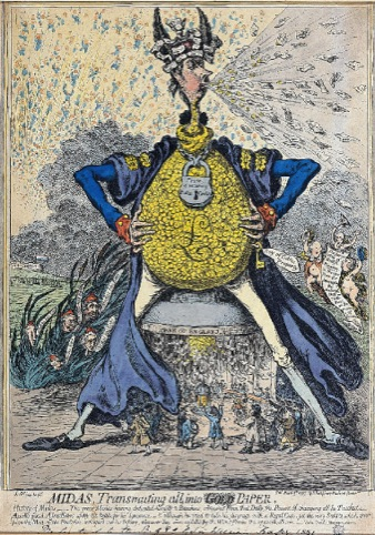 Midas Transmuting All Into Paper by James Gillray, published 9 March 1797