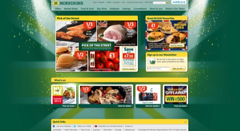 The current Morrisons homepage