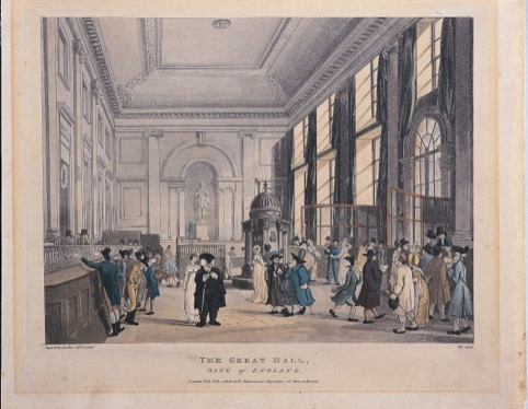 The great Hall, Bank of England by Augustus Pugin and Thomas Rowlandson, published 1 February 1808