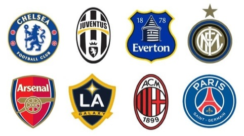The Everton crest compared to other global football brands