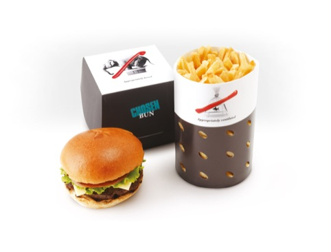 Burger and chips - no elephants