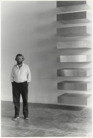 Donald Judd with his work, Untitled, 1975, at La Mansana de Chinati_The Block, Marfa, 1982