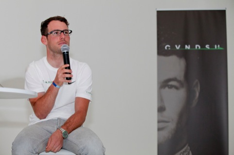Mark Cavendish at the CVNDSH brand launch