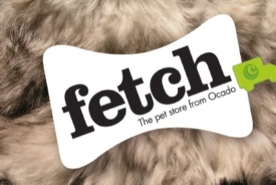 Fetch brand name with a textured animal fur background