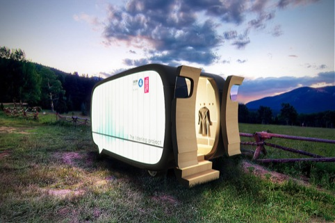 Mock-up of the pod in a meadow