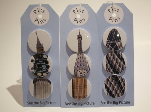 Original Pics-Pins designs, created by pupils from Trinity School in Lewisham