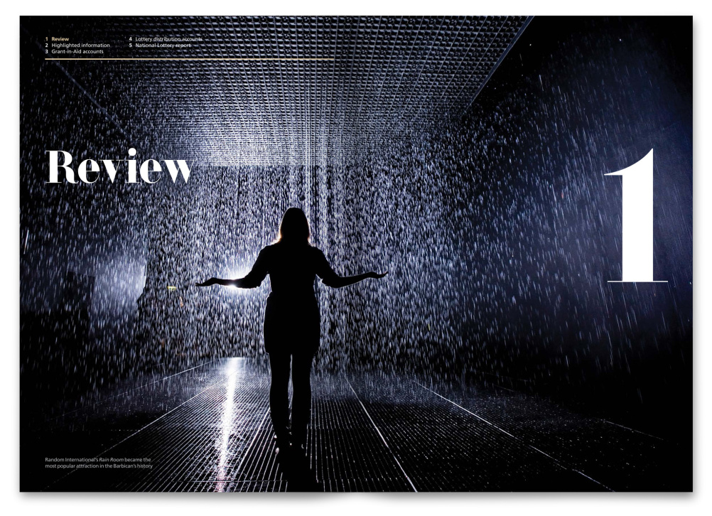 Review title page, showing The Rain Room Barbican installation