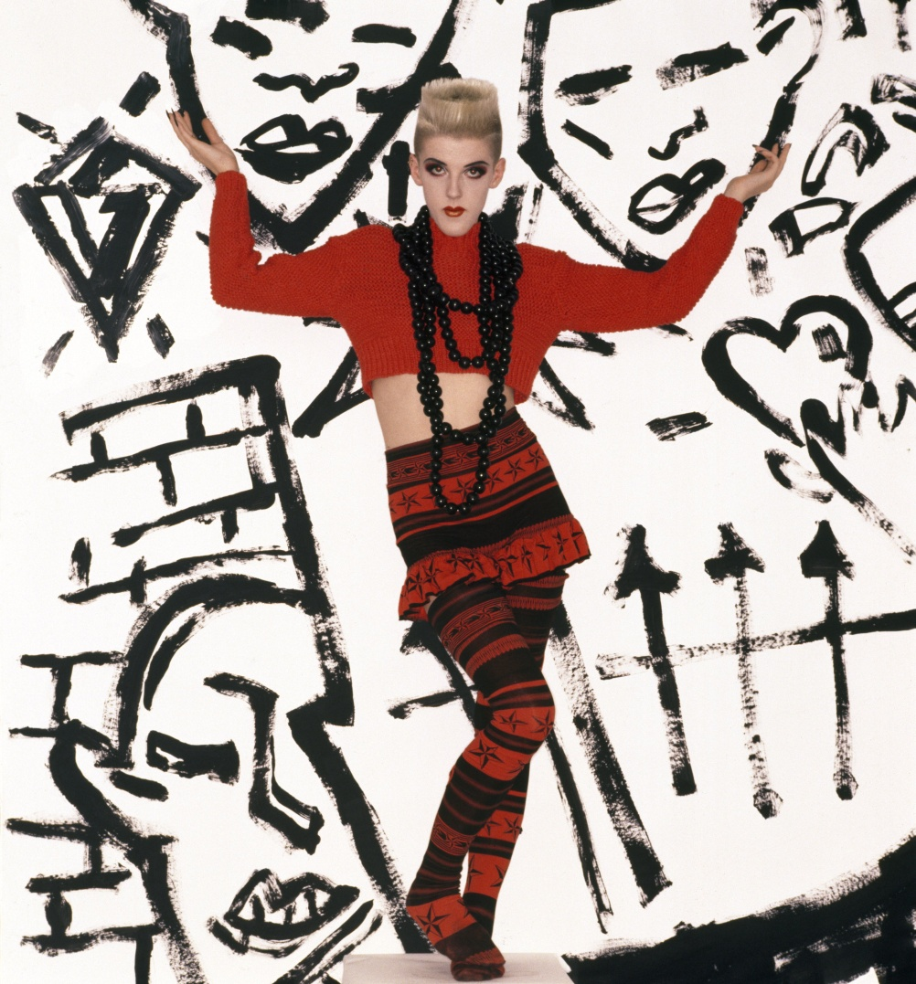 Bodymap, A/W 1984, Cat in the hat takes a rumble with a techno fish. Model: Scarlett Cannon, 1985