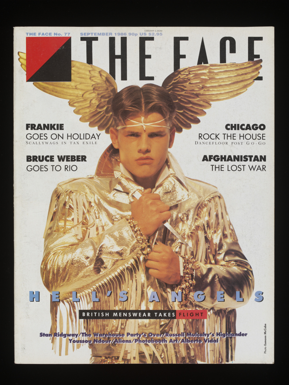 The Face, no. 77, September 1986 (Hell's Angels Cover)   Artist: Lloyd Johnson gold jacket, on display in exhibition