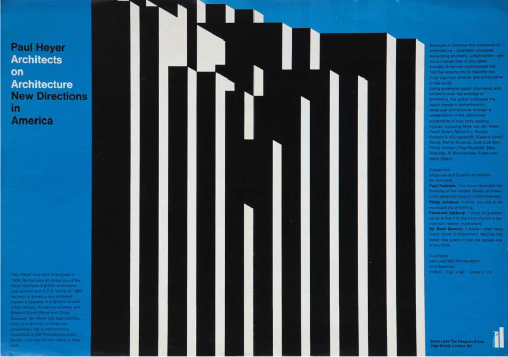 Architects on Architecture, Promotional Poster, Allen Lane, The Penguin Press, 1968