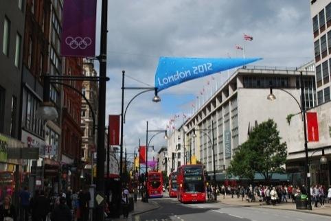 London 2012 Olympics branding on Oxford Street