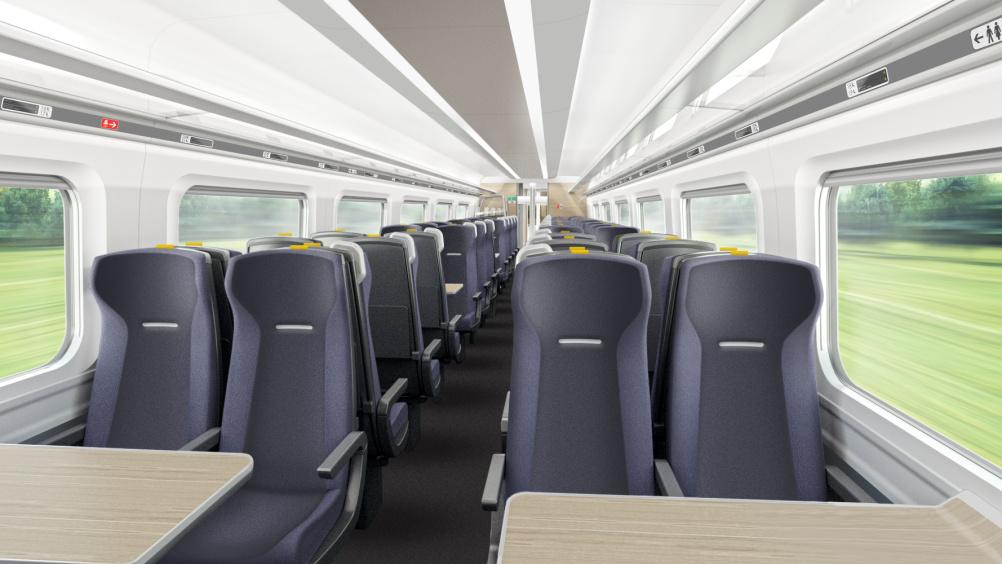 Hitachi Super Express Train standard class interior by DCA Design International