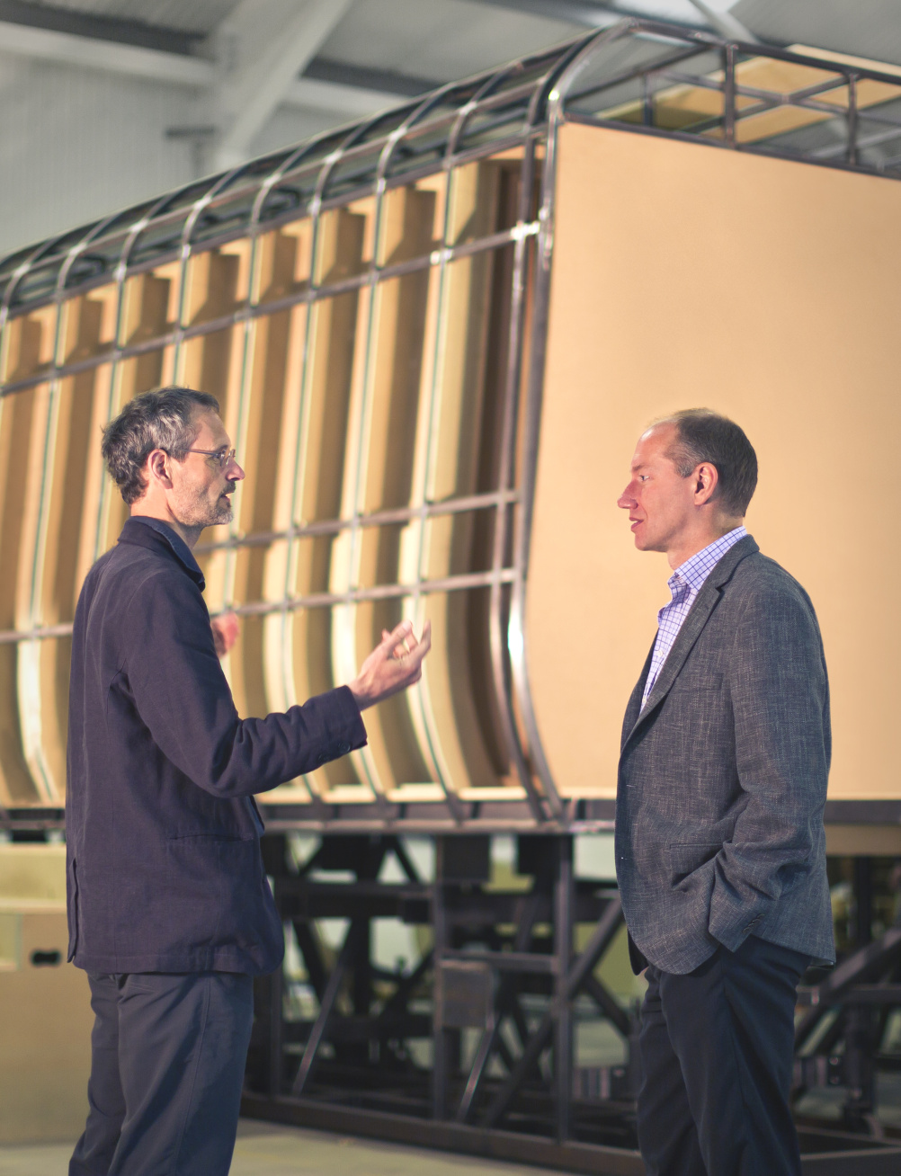 DCA's technical director Rob Bassil (right) and interior design project manager and transportation sector manager Paul Rutter with the full size mock up currently under construction at DCA's Warwick premises.