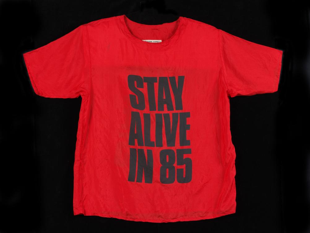 Silk T-shirt, designed by Katherine Hamnett, 1984