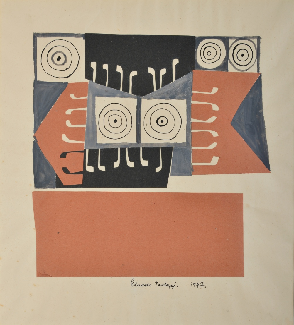 Eduardo Paolozzi, Target, 1947, ink and collage on paper, Pallant House Gallery, Wilson Gift through The Art Fund © The Trustees of the Eduardo Paolozzi Foundation