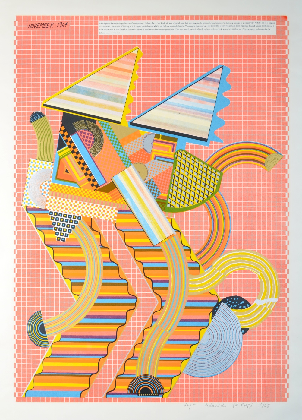 Eduardo Paolozzi, Wittgenstein in New York from 'As is When', 1965, Screenprint on paper, Pallant House Gallery © The Trustees of the Eduardo Paolozzi Foundation