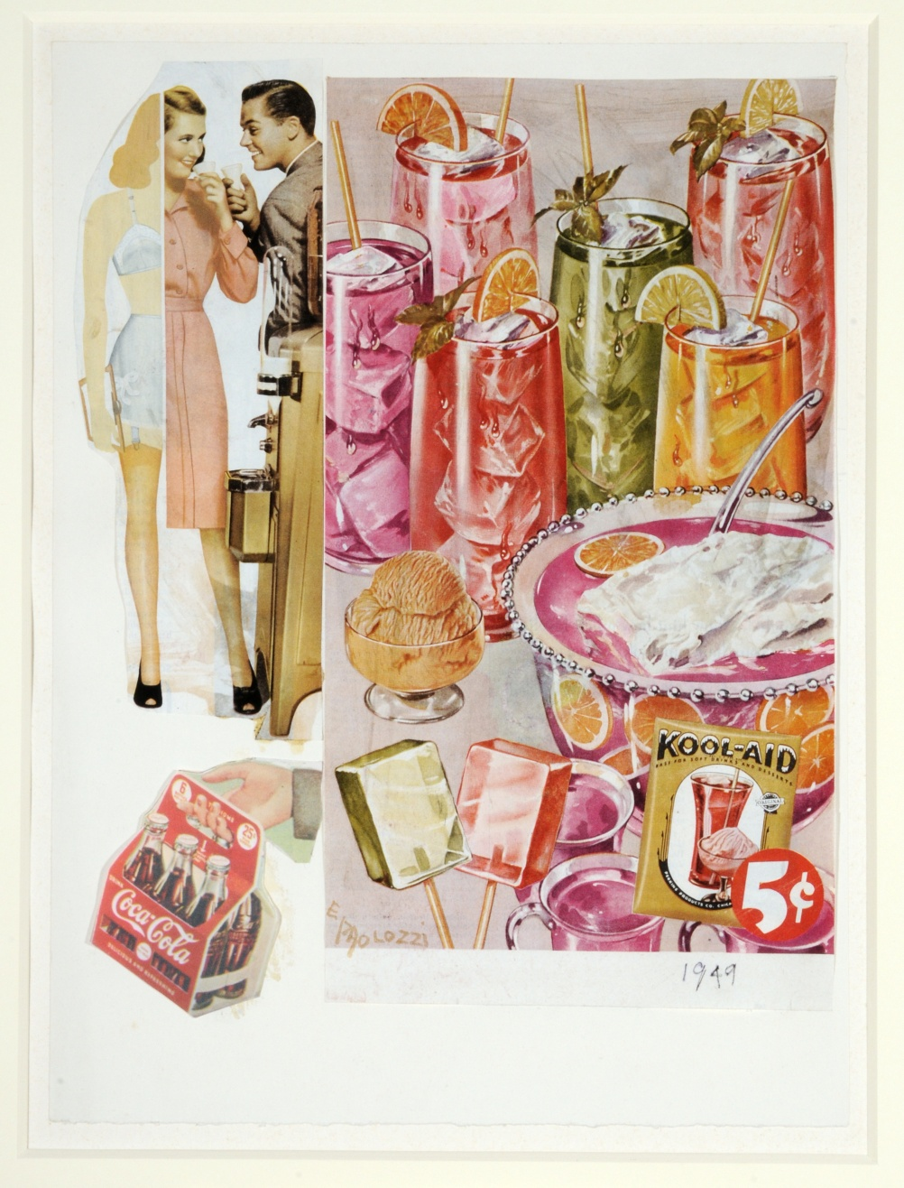 Eduardo Paolozzi, Refreshing and Delicious, 1949, Collage on paper, The Sherwin Collection © The Trustees of the Eduardo Paolozzi Foundation
