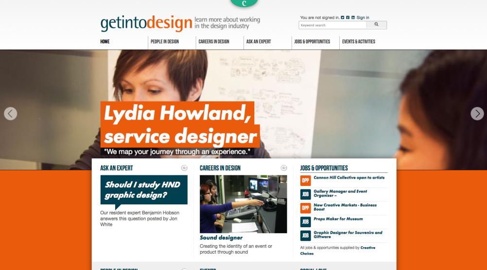 The Get Into Design website