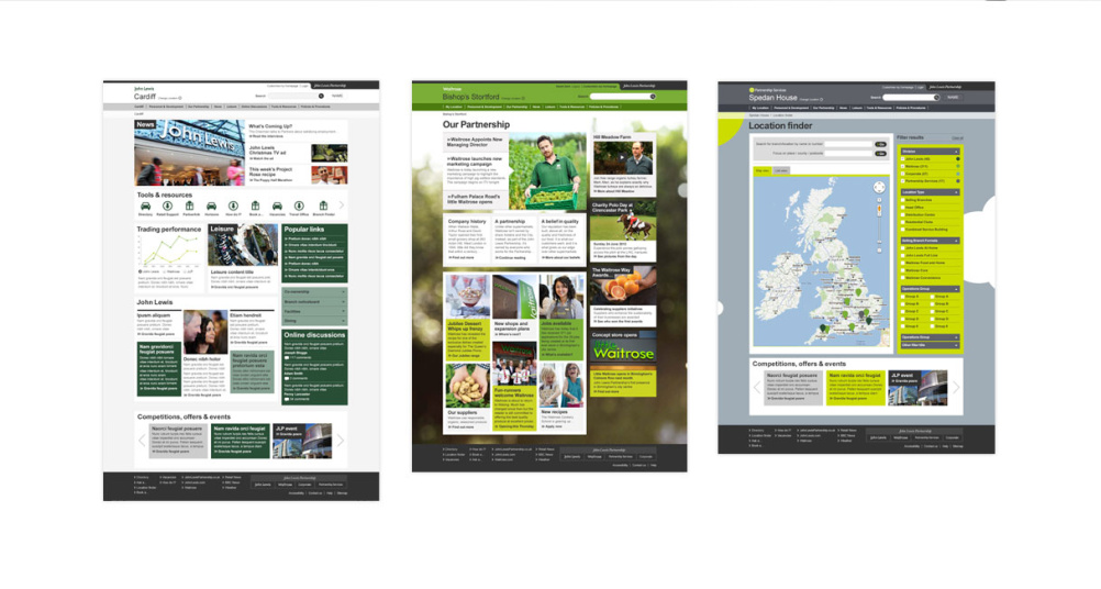 John Lewis social intranet, showing different targeted content