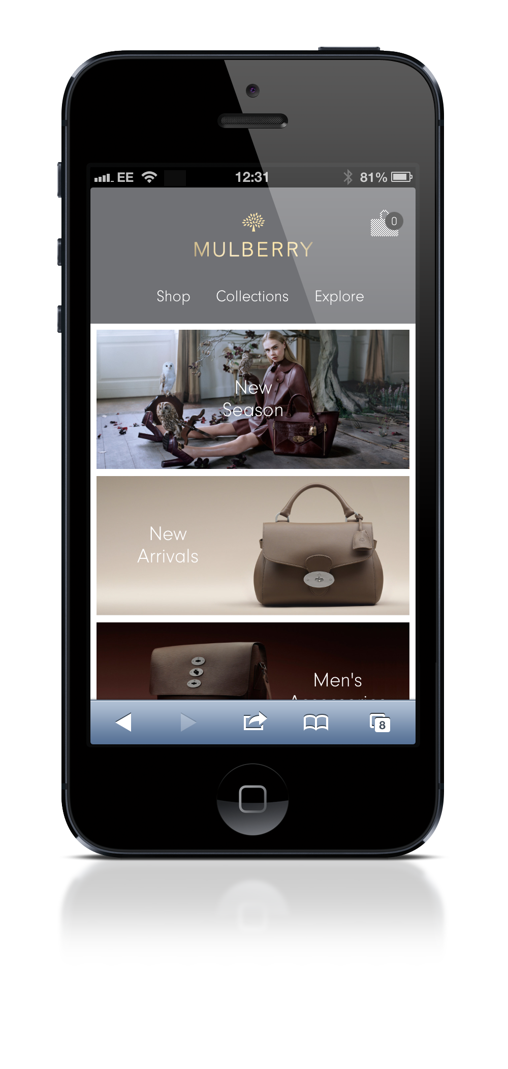 Mulberry homepage on mobile site
