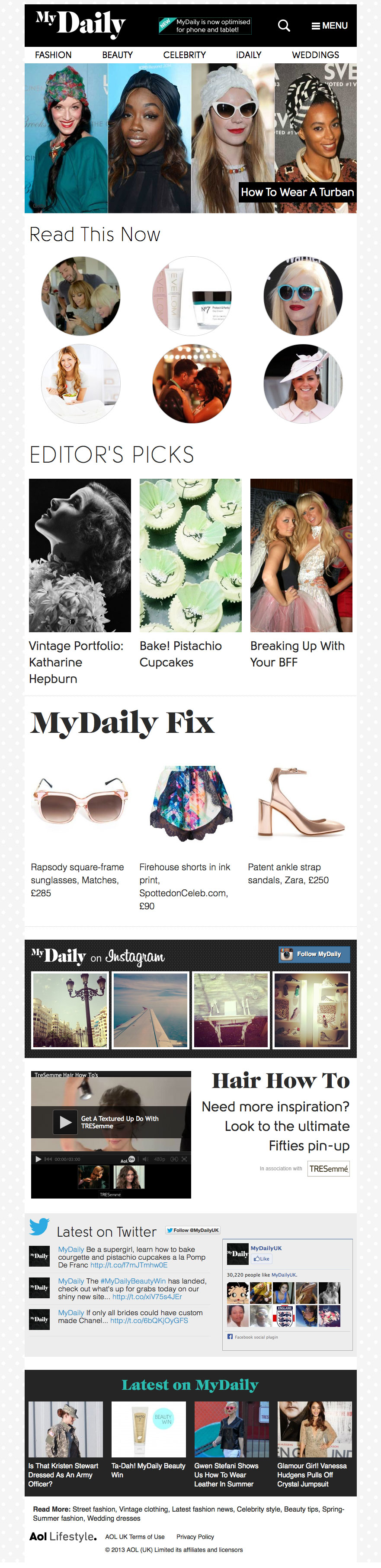 The MyDaily site for tablet devices