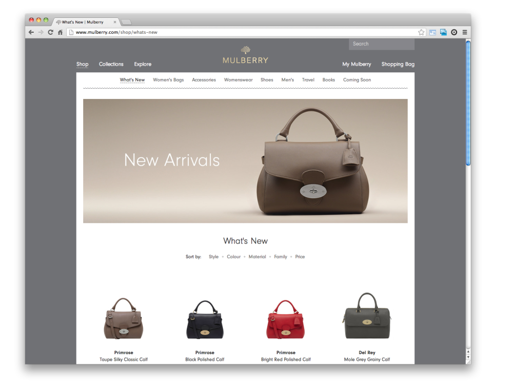 New Arrivals on the Mulberry site