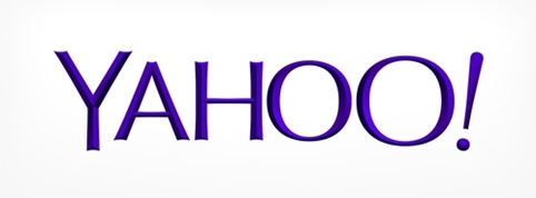 Yahoo's old (top) and new (bottom) logos