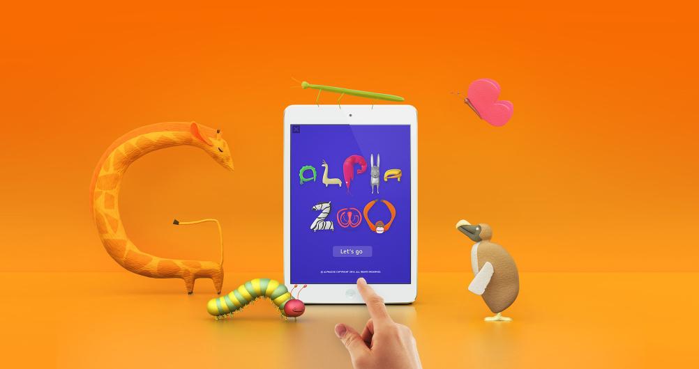 Alpha Zoo app and animals