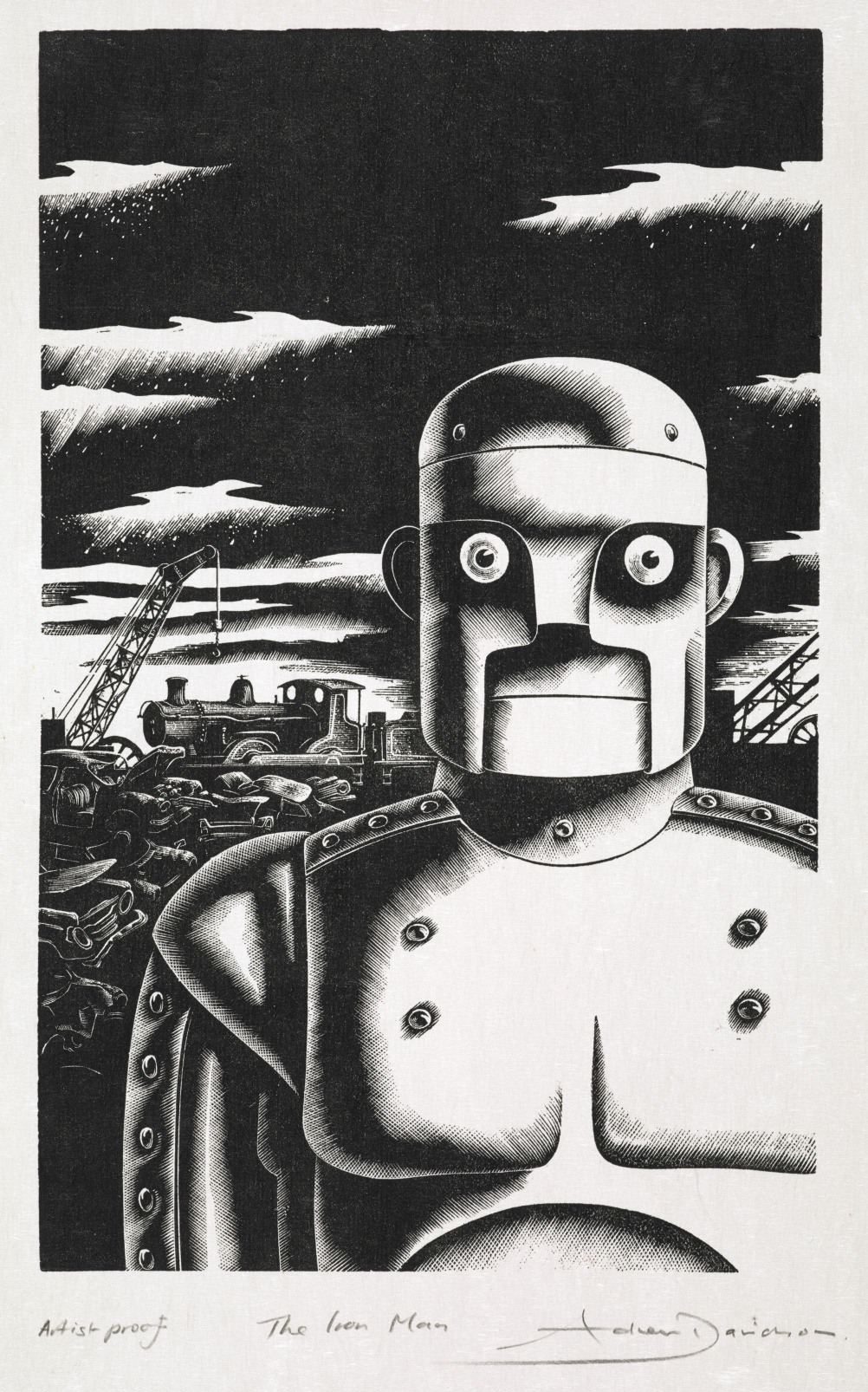 Original artwork from The Iron Man by Ted Hughes. Published by Faber and Faber, 1985. Illustration by Andrew Davidson