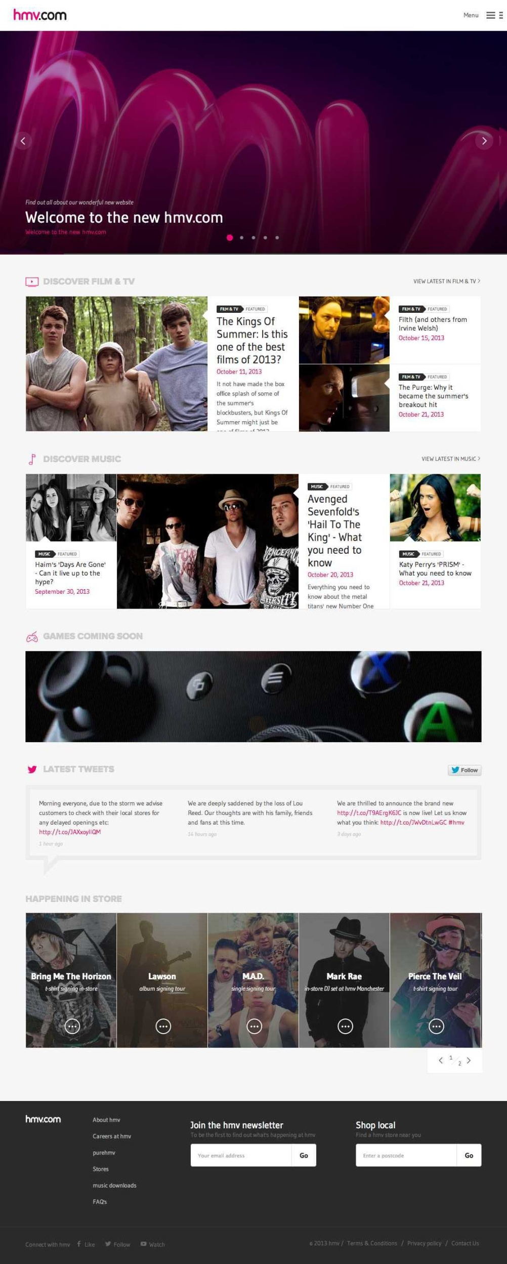 HMV site homepage