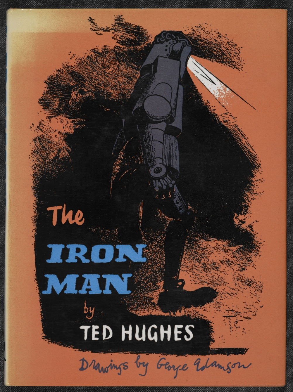 Cover for The Iron Man by Ted Hughes. Published by Faber and Faber 1968. Image by George Adamson.