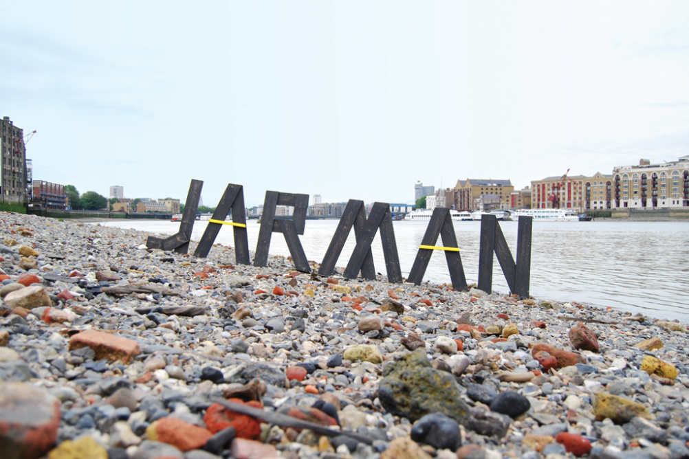 JARMAN lettering by the Thames