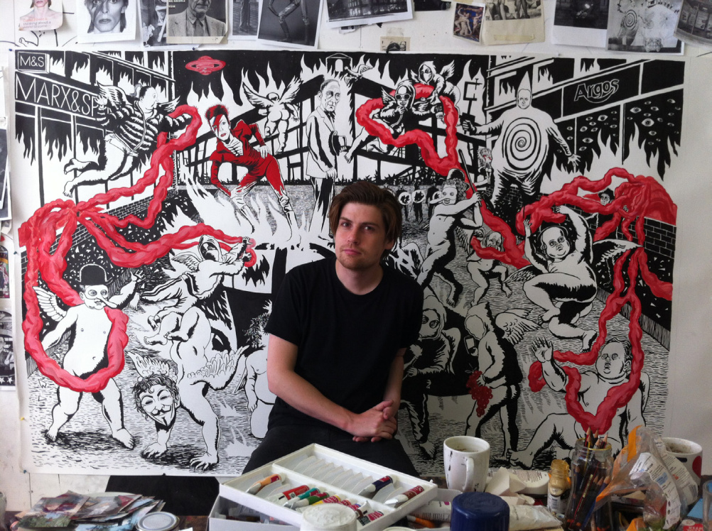 Neal Fox in his studio with All the Young Dudes, 2013