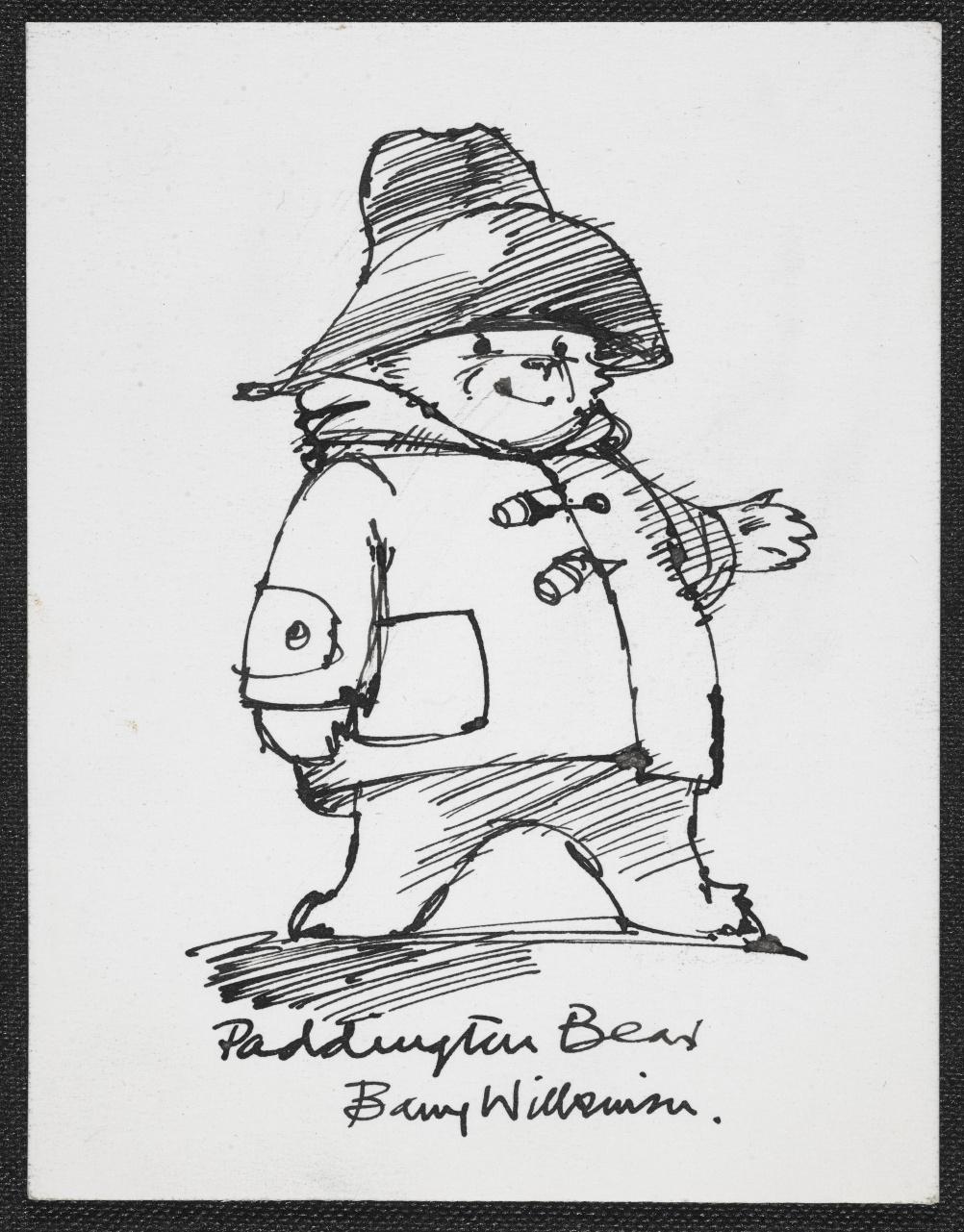 Sketch of Michael Bond's Paddington Bear by Barry Wilkinson