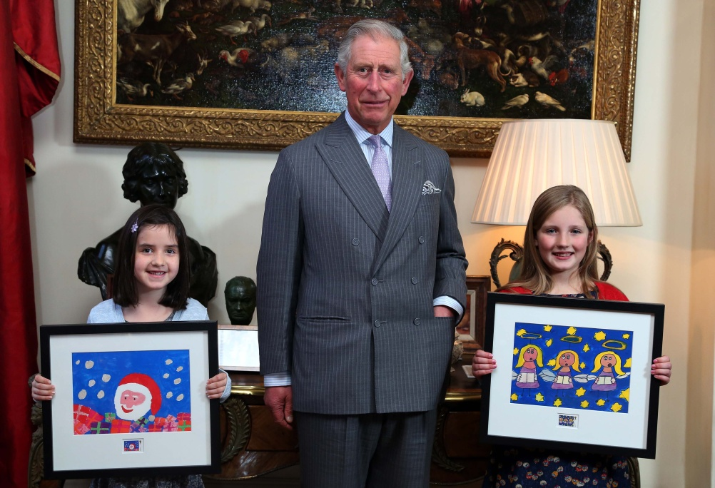 Prince Charles with the stamp competition winners