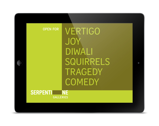 Serpentine iPad screen