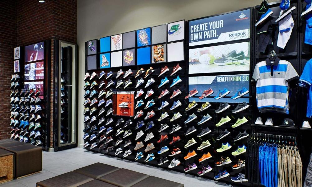 Foot Locker sneaker wall