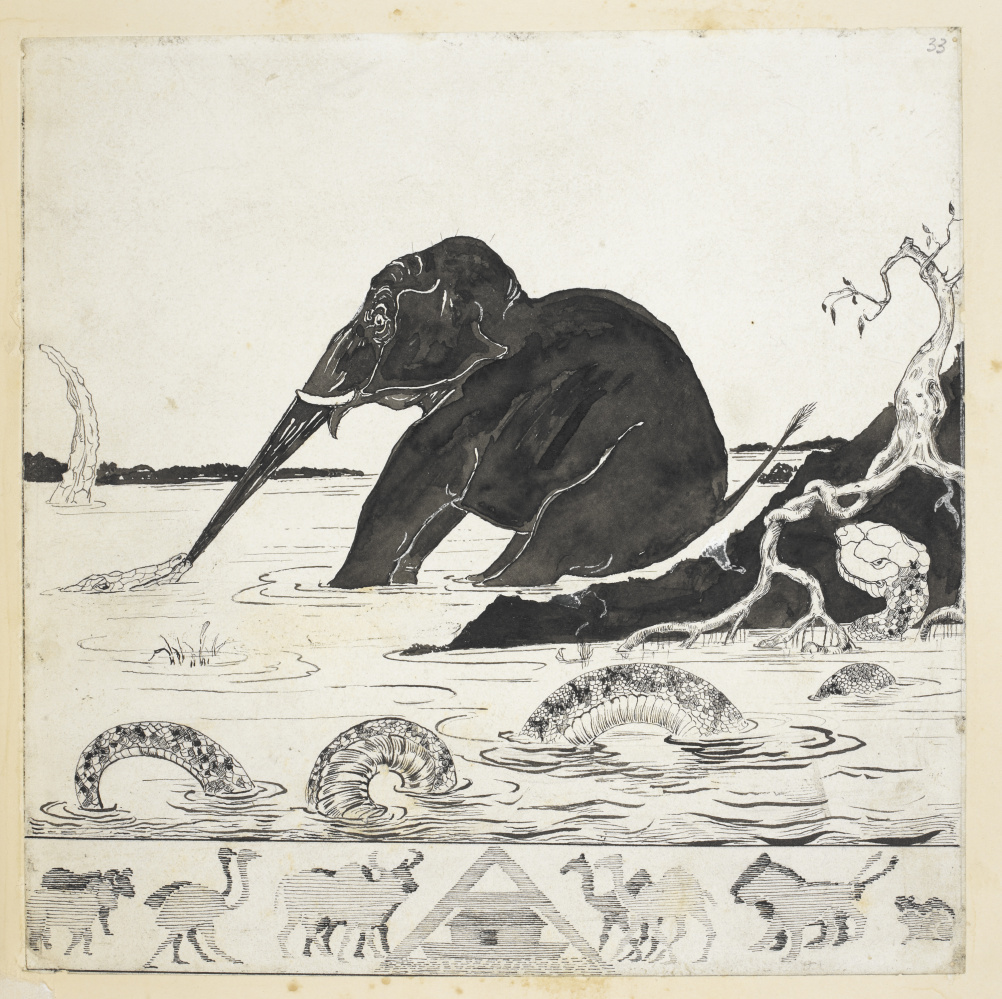 Autograph printer's copy of The Elephant's Child, Just So Stories. Illustration by Rudyard Kipling