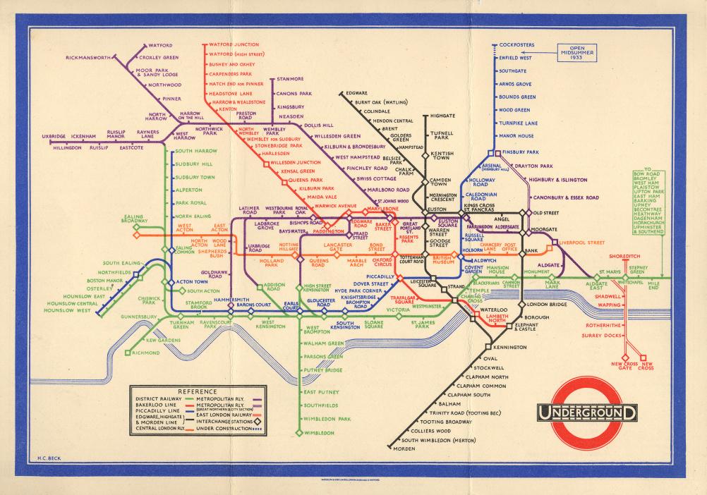 The first pocket version of Becks Underground map, 1933