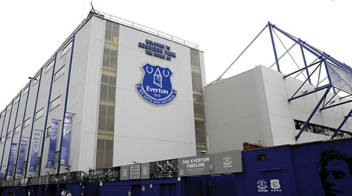 The new crest as shown on Everton's Goodison Park stadium